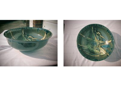Chris Stewart - Light Green with White Slashes Bowl
